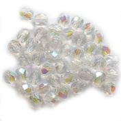 Pretty Pebbles Beads - 50 Fire Polished Czech Glass Beads 6mm Crystal AB