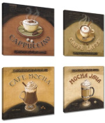 Picture - art on canvas Coffee 4 x 20cm x 20cm , four-part parts model no. XXL 6903 Pictures completely framed on large frame. Art print Images realised as wall picture on real wooden framework. A canvas picture is much less expensive than an oi ..