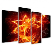 Picture - art on canvas plant length 130cm height 80cm , four-part parts model no. XXL 6147 Pictures completely framed on large frame. Art print Images realised as wall picture on real wooden framework. A canvas picture is much less expensiv ..
