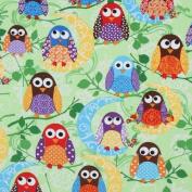cute green owls fabric What a Hoot USA designer