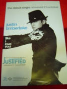 JUSTIN TIMBERLAKE LIKE I LOVE YOU 30 X 20 approx INCHES POSTER