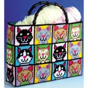 Cat Tote Bag Plastic Canvas Kit, 30cm x 33cm x 23cm