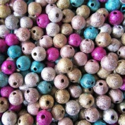 50 Acrylic Beads 8mm Stardust Metallic Effect Colour Mix