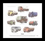 Classic British Lorries 1950s 1960s - Foden FE6/15, AEC Mammoth Major 3, Major 5, Seddon 24-8-6LX, Atkinson L1586, Scammel Routeman 1, Leyland Octopus 22.0/1, ERF KV - Art Print