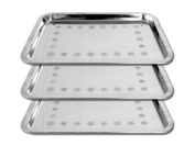 3 Pack Tattoo Stainless Steel Trays 26cm x 34cm x .13cm