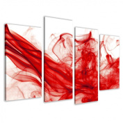 Picture - art on canvas smoke red length 130cm height 80cm , four-part parts model no. XXL 6120 Pictures completely framed on large frame. Art print Images realised as wall picture on real wooden framework. A canvas picture is much less expe ..