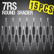 15pc 7RS Round Shader Disposable Tattoo Needle 1.9cm Grip Tube Tip Sterilised