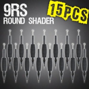 15pc 9RS Round Shader Disposable Tattoo Needle 1.9cm Grip Tube Tip Sterilised