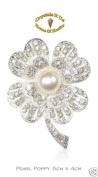 Pearl Fashion Vintage Poppy Brooch Pin Badge Crystal