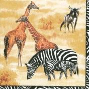 IHR African Animal Leopard Zebra Giraffe Print napkins 20 - Wildlife Cream