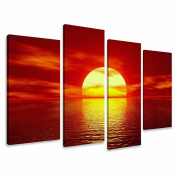 Picture - art on canvas sunrise length 130cm height 80cm , four-part parts model no. XXL 6094 Pictures completely framed on large frame. Art print Images realised as wall picture on real wooden framework. A canvas picture is much less expens ..