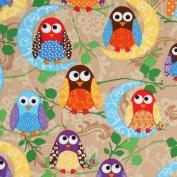 cute brown owls fabric What a Hoot USA designer