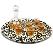 Leopard Print Round Tray 36cm | Bar Tray, Drinks Tray, Serving Tray, Non-Slip Tray
