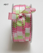 Pink & Parrot Green Square Print with Stitched Edge 12mm Ribbon on 3m Length