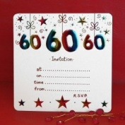 Pack of 10 - 60th Birthday Party Invitations