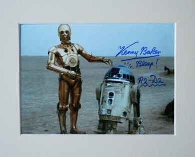 KENNY BAKER STAR WARS R2-D2 SIGNED AUTOGRAPH PHOTO PRINT IN MOUNT