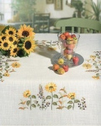 Sunflowers Embroidery Tablecloth - 85 x 85cm - Embroidery Kit