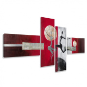 Picture 6810 - art on canvas hand painted length 200cm height 80cm , four-part XXL Pictures completely framed on large frame. Art print Images realised as wall picture on real wooden framework. A canvas picture is much less expensive than an o ..