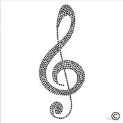 Rhinestone Diamante Crystal Iron On T Shirt Design Transfer - Musical Note Clef Treble Clef Hotif