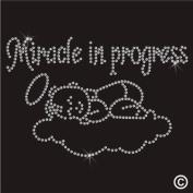 Rhinestone Diamante Crystal Iron On T Shirt Design Transfer - Maternity Miracle in Progress Baby