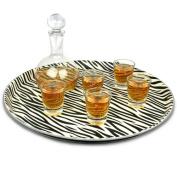 Zebra Print Round Tray 36cm | Bar Tray, Drinks Tray, Serving Tray, Non-Slip Tray