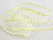 Eyelet Knitting in Lace 30mm wide - Yellow - per metre