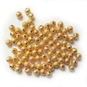 Pretty Pebbles Beads - 30 Stardust Beads 6mm Gold Colour