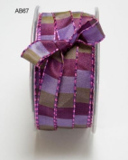 Purple & Lavender Square Print with Stitched Edge 12mm Ribbon on 3m Length