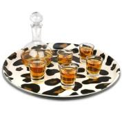Giraffe Print Round Tray 36cm | Bar Tray, Drinks Tray, Serving Tray, Non-Slip Tray