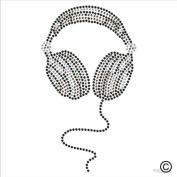 Rhinestone Diamante Crystal Iron On T Shirt Design Transfer - MUSIC HEADPHONES