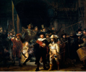 The Night Watch by Rembrandt, Antique Reproduction Print 35.5 x 29 cm