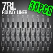 30pcs 7RL Round Liner Disposable Tattoo Needle 1.9cm Grip Tube Tip Sterilised