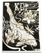 KOI TATTOO FLASH Tattoo Design Black & Grey 51-page Variety Flash Book Supply