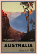 Vintage Travel AUSTRALIA for NEW SOUTH WALES and THE BLUE MOUNTAINS 250gsm ART CARD Gloss A3 Reproduction Poster