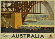c1931 Vintage Travel STILL BUILDING AUSTRALIA Sydney Harbour Bridge 250gsm ART CARD Gloss A3 Reproduction Poster