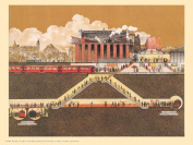 London Underground Charing Cross Cross Section Vintage Railway Poster OTW 0023