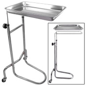 Tattoo Body Piercing Instrument Rolling Mayo Stand - Chrome Removeable Tray Double Post