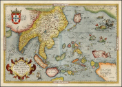 Reproduction Abraham Ortelius Map of Japan Asia India Colour Map 45 x 33 cm
