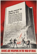 "2W10 Vintage WWII Books Are Weapons U.S Propaganda War Poster WW2 - A3 (432 x 305mm) 16.5"" x 11.7"""