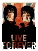 Oasis Liam and Noel Live forever Art Print Poster by Wig