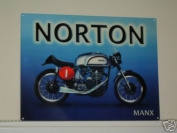 NORTON MANX CLASSIC MOTORCYCLE MINI METAL METAL SIGN APPROX 20cm X15cm
