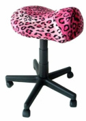 Pink Leopard Saddle Stool with Foot Rest Ring
