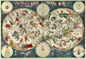 Planisphere Celeste, Zodiac, Night Sky, Vintage Old Colour Map of the Heavens, 48 x 33 cm (19 x 13 inches), Frederik de Wit 17th Century Planispheri Celeste