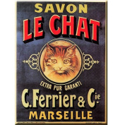 FRENCH VINTAGE METAL SIGN 20X15cm RETRO AD LE CHAT SOAP - M605