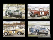 Sporting Mini Cooper Postcards - Rally John Rhodes Paddy Hopkirk Steve Neal