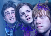 Harry Potter & The Deathly Hallows Part 2 Signed PP by 3 Cast Daniel Radcliffe Emma Watson Rupert Grint A4 Poster Photo