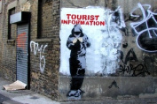 """Set Of 3 Banksy Posters - The Beggar I want Change, Tourist Information Hoody, Pulp Fiction Bananas Mini PAPER Posters, Each Poster Measures 23.5"""" x 16.5""""Inches ( 59.4 x 42 cm ) approx"""