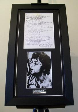 Beatles John Lennon A Day in the Life Lyrics Framed Display