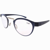 Eyekepper Non Prescription Quality Stainless Steel Frame Plastic Temple Retro Vintage Reading Glasses Blue and Silver+1.0