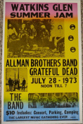 Rons Past and Present Watkins Glen Summer Jam Allman Bros, Greatful Dead, And The Band Concert Poster